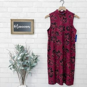 Apt. 9 Maroon Mock Neck Sleeveless Dress
